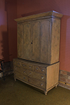 english dresser cabinet with two large doors above drawes