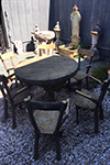 beautiful faux bois round table with four chairs