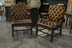 pair of english leather gainsborough chairs