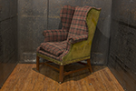 english leather and plaid chair