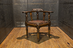 english carved oak corner chair