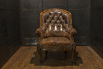 victorian style english country house leather library armchair with nail head trim