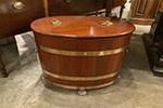 oval brass bound teak wine cooler