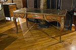 louis xv kingwood bureau plat with ormolu mounts and inset leather top