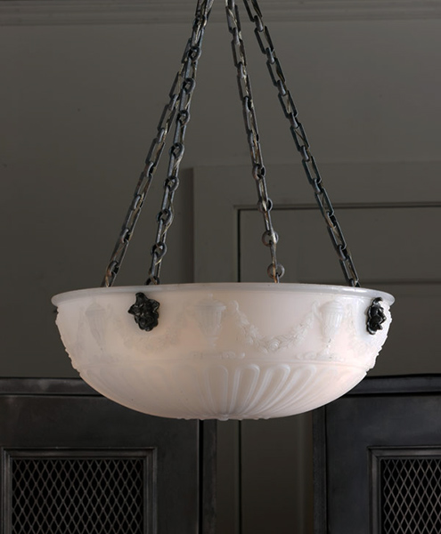 english white glass bowl chandelier with rams head and raised swags